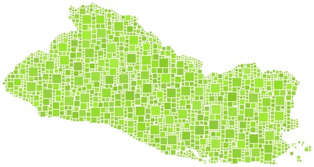 Republic of El Salvador in a mosaic of green squares