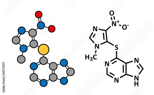 Azathioprine immunosuppressive drug, chemical structure.
