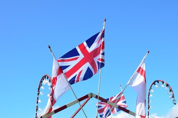 Union jack and english flags flying