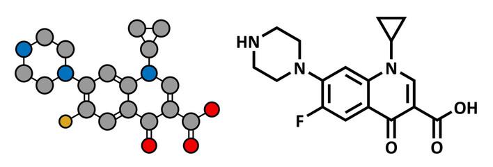 Ciprofloxacin antibiotic drug (fluoroquinolone class)