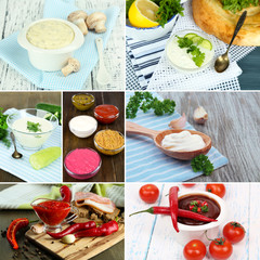 Collage of different sauce