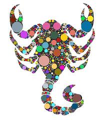 scorpione composto da cerchi colorati
