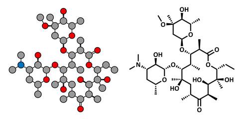 Erythromycin antibiotic drug (macrolide class)