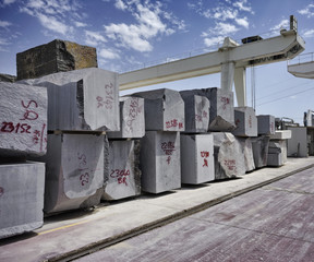 Italy, marble cutting factory, granite blocks - industrial