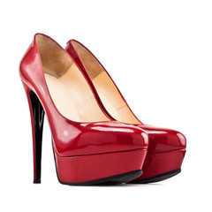 red female shoes with high heels