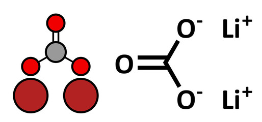Lithium carbonate (Li2CO3) bipolar disorder drug.