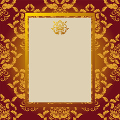 Invitation card with gold elements and with a place for an