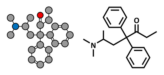 Methadone opioid dependency drug, chemical structure.