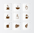 Flat coffee icon illustration, different symbols and styles