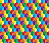 Kolorowe abstrakcyjne powtarzalne tło z kostek i kwadratów - 65775114