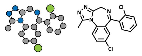 Triazolam insomnia drug (sleeping pill, benzodiazepine class)