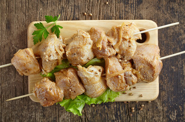 raw marinated pork kebab meat