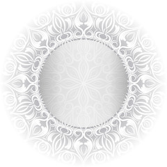 Damask pattern. Circle with gold elements. Invitation card with