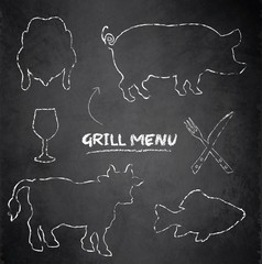 Grill menu pig cow fish chicken blackboard chalkboard vector
