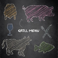 Grill menu pig cow fish chicken blackboard chalkboard