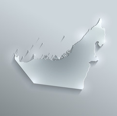 United Arab Emirates map glass card paper 3D vector