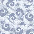 Seamless background. Blue and white wallpaper with foliage
