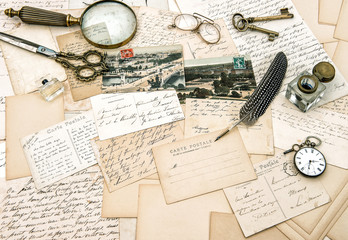 old handwritten french letters and postcards, vintage office acc