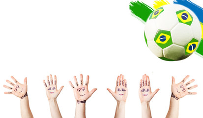 Cheering hands, soccer ball and the Brazil flag