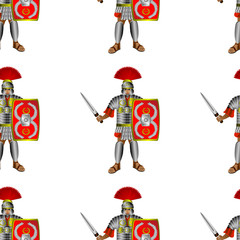 Roman legionaries seamless pattern