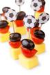 Leinwanddruck Bild - Fußball Party Snacks in Schwarz Rot Gold