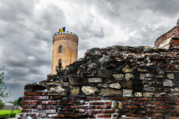 Chindiei Tower and fortification walls in Targoviste Romania