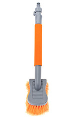Orange Brush for Washing the Car. Isolated on White Background