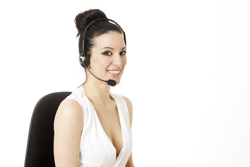 Woman customer service worker, call center smiling operator with