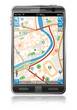 Leinwanddruck Bild - Smart Phone with GPS Navigation Application