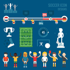 soccer players character and icons
