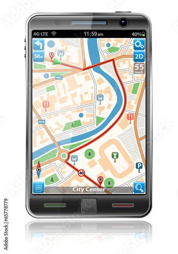 Leinwanddruck Bild Smart Phone with GPS Navigation Application