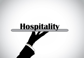 Profesional hand silhouette presenting hospitality text