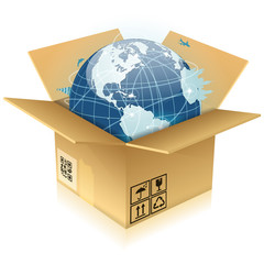 Cardboard Box with Earth
