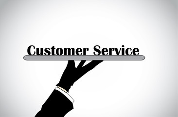 Profesional hand silhouette presenting customer service text