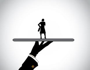 hand silhouette presenting dressed professional business woman