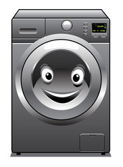 Cute silver washing machine with a happy face