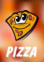 Funny cartoon pizza slice