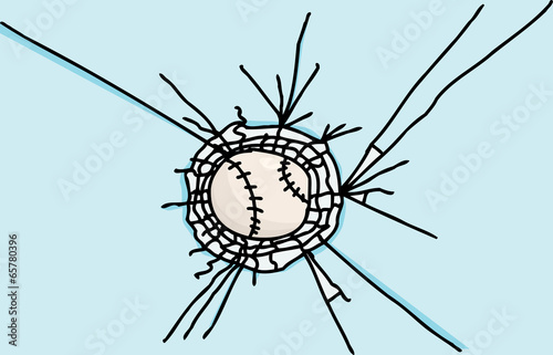 Baseball Stuck in Glass