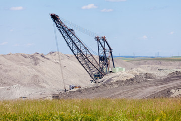 Coalmine excavator machine moonscape tailing