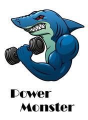 Shark athlete with dumbbells
