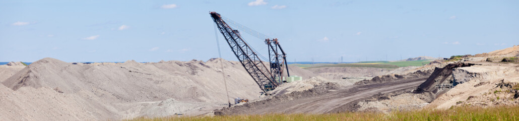 Coalmine excavator moonscape tailings panorama