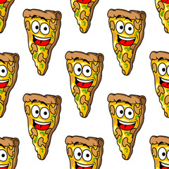 Seamless pattern of mushroom pizza slices