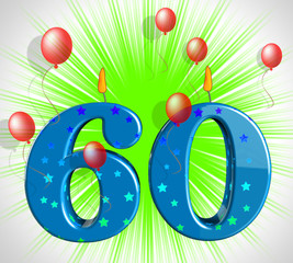 Number Sixty Party Show Elderly Birthday Or Birth Anniversary