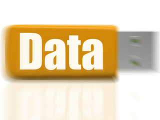 Data USB drive Shows Digital Information And Dataflow