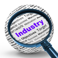 Industry Magnifier Definition Means Local Production Or Engineer