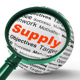 Supply Magnifier Definition Shows Goods Provision Or Product Dem poster