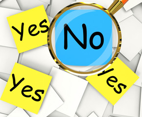 Yes No Post-It Papers Show Agree Or Disagree