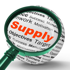 Supply Magnifier Definition Shows Goods Provision Or Product Dem