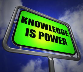 Knowledge is Power Signpost Represents Education and Development