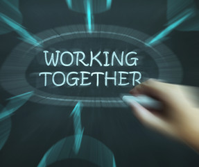 Working Together Diagram Means Teams And Cooperating